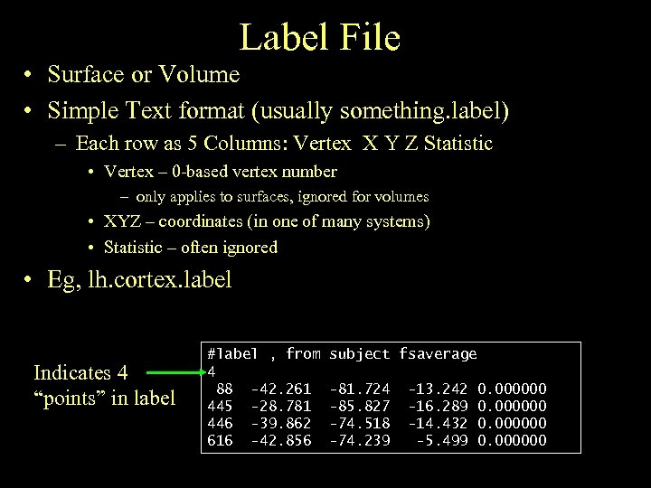 Label File • Surface or Volume • Simple Text format (usually something. label) –
