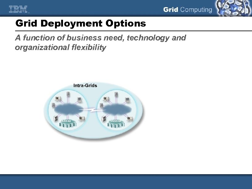 Grid Deployment Options A function of business need, technology and organizational flexibility Intra-Grids NAS/SAN