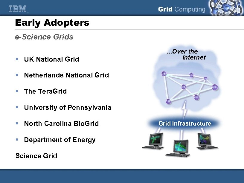 Early Adopters e-Science Grids § UK National Grid . . . Over the Internet