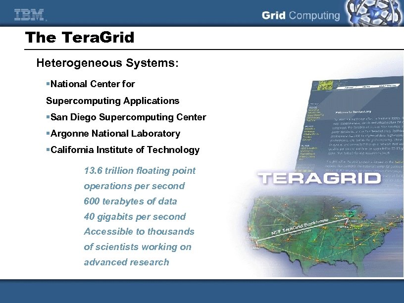 The Tera. Grid Heterogeneous Systems: §National Center for Supercomputing Applications §San Diego Supercomputing Center