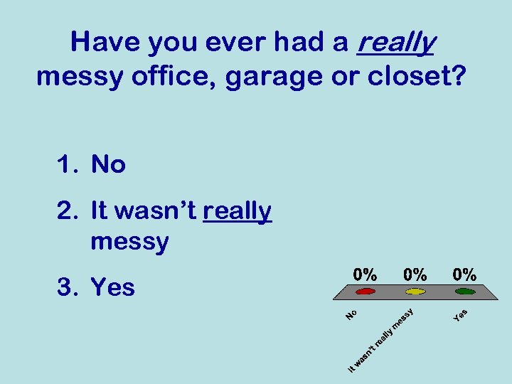 Have you ever had a really messy office, garage or closet? 1. No 2.