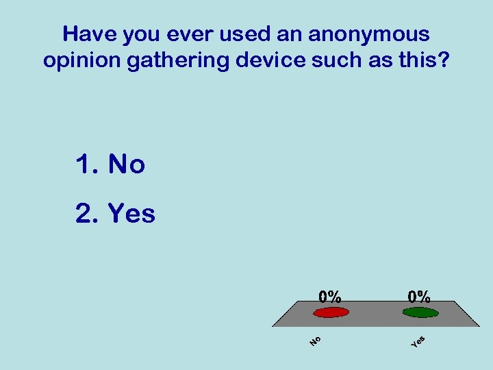Have you ever used an anonymous opinion gathering device such as this? 1. No