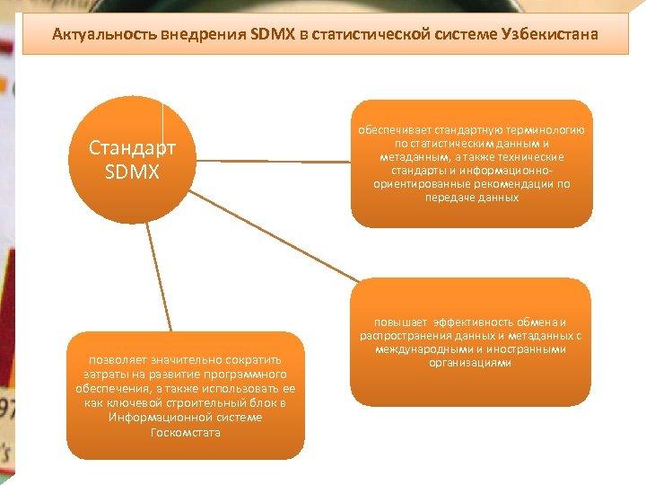 Актуальность внедрения SDMX в статистической системе Узбекистана Стандарт SDMX позволяет значительно сократить затраты на