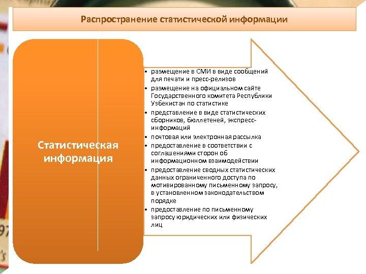 Распространение статистической информации Статистическая информация • размещение в СМИ в виде сообщений для печати