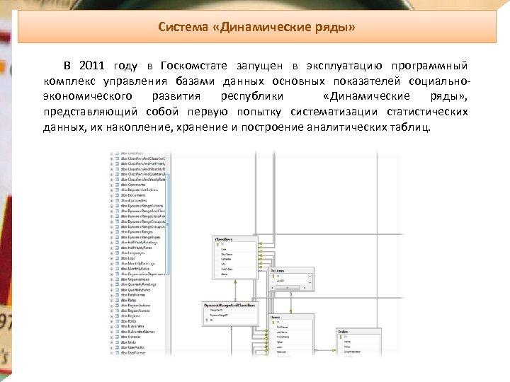 Система «Динамические ряды» В 2011 году в Госкомстате запущен в эксплуатацию программный комплекс управления