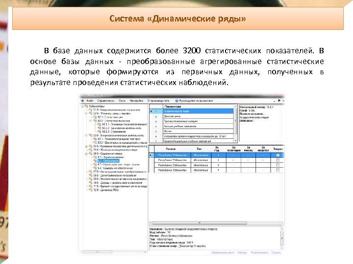 Система «Динамические ряды» В базе данных содержится более 3200 статистических показателей. В основе базы