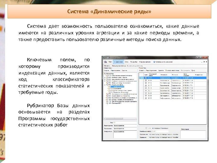 Система «Динамические ряды» Система дает возможность пользователю ознакомиться, какие данные имеются на различных уровнях