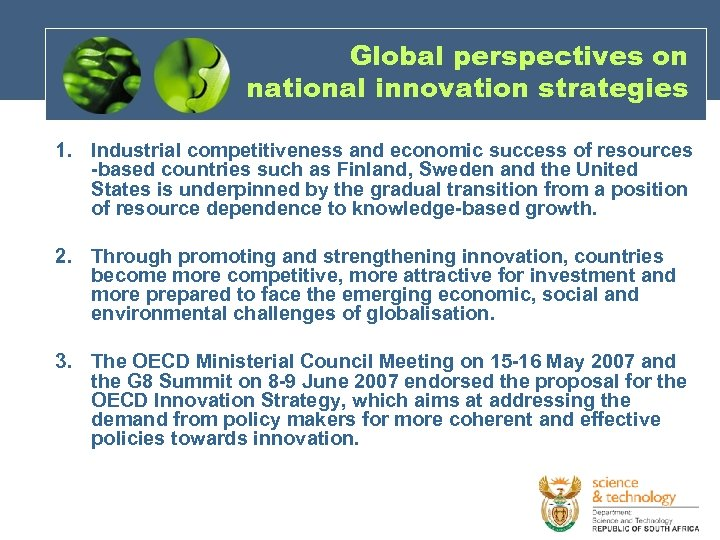 Global perspectives on national innovation strategies 1. Industrial competitiveness and economic success of resources