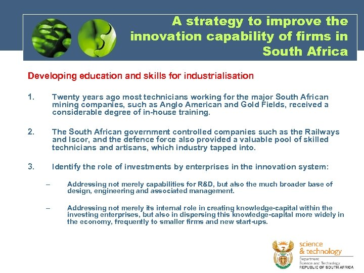 A strategy to improve the innovation capability of firms in South Africa Developing education