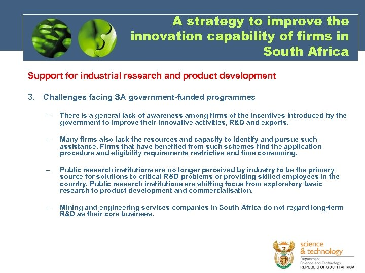 A strategy to improve the innovation capability of firms in South Africa Support for
