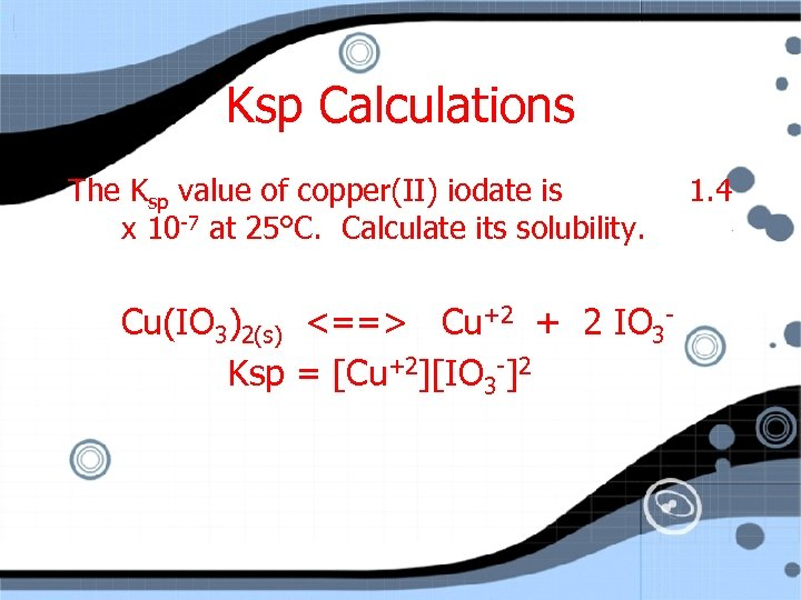 Ksp Calculations The Ksp value of copper(II) iodate is x 10 -7 at 25°C.