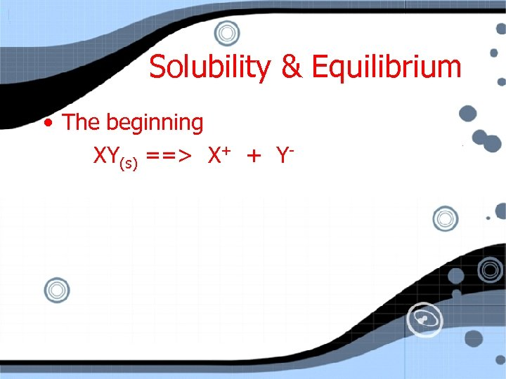 Solubility & Equilibrium • The beginning XY(s) ==> X+ + Y-