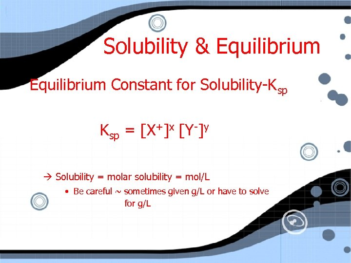 Solubility & Equilibrium Constant for Solubility-Ksp = [X+]x [Y-]y Solubility = molar solubility =