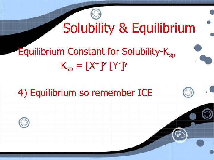 Solubility & Equilibrium Constant for Solubility-Ksp = [X+]x [Y-]y 4) Equilibrium so remember ICE