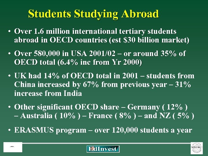Students Studying Abroad • Over 1. 6 million international tertiary students abroad in OECD