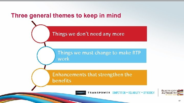 Three general themes to keep in mind Things we don't need any more Things
