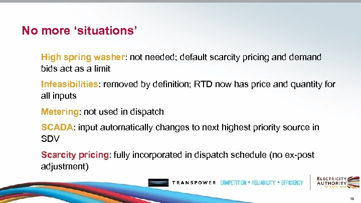 No more 'situations' High spring washer: not needed; default scarcity pricing and demand bids