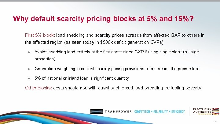 Why default scarcity pricing blocks at 5% and 15%? First 5% block: load shedding