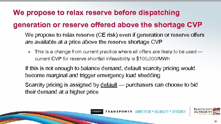 We propose to relax reserve before dispatching generation or reserve offered above the shortage