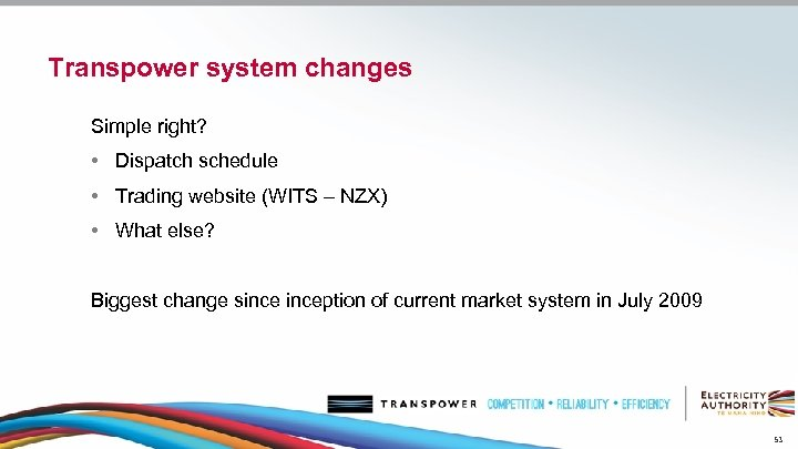 Transpower system changes Simple right? • Dispatch schedule • Trading website (WITS – NZX)