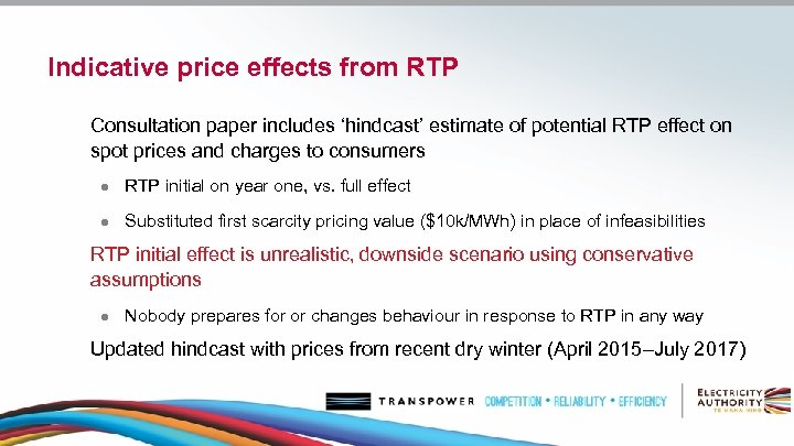 Indicative price effects from RTP Consultation paper includes 'hindcast' estimate of potential RTP effect