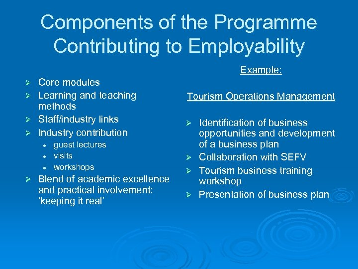 Components of the Programme Contributing to Employability Example: Core modules Ø Learning and teaching