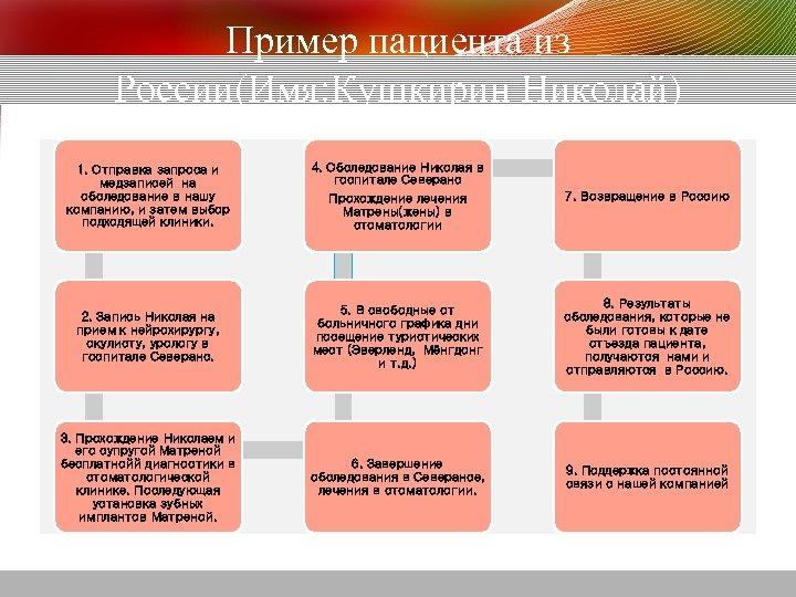 Пример пациента из России(Имя: Кушкирин Николай) 1. Отправка запроса и медзаписей на обследование в