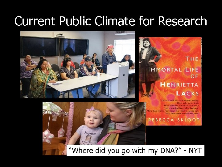 "Current Public Climate for Research ""Where did you go with my DNA? "" -"