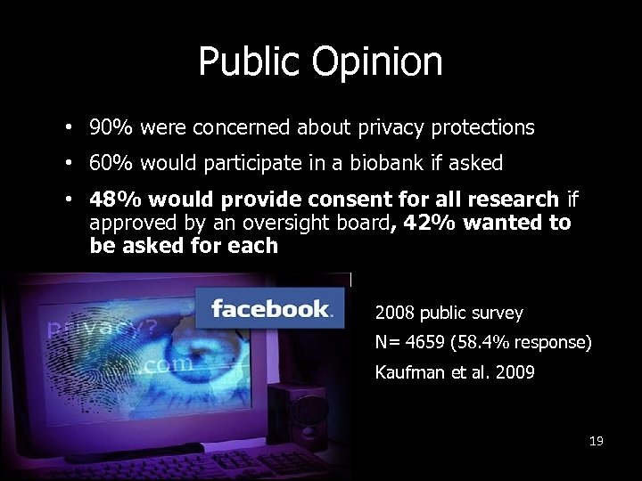 Public Opinion • 90% were concerned about privacy protections • 60% would participate in
