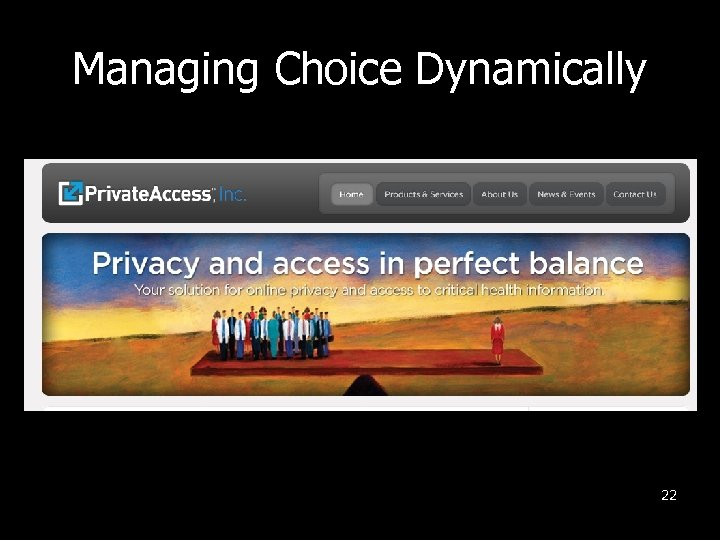 Managing Choice Dynamically 22