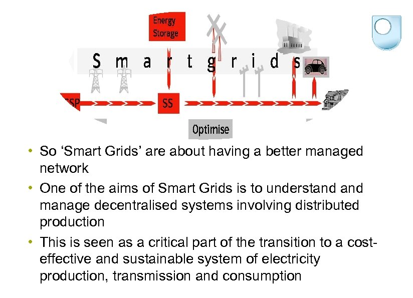 • So 'Smart Grids' are about having a better managed network • One