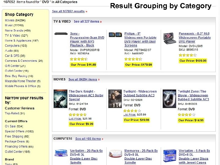Result Grouping by Category Field Collapse on Product Type