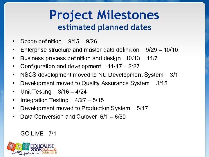 Project Milestones estimated planned dates • • • Scope definition 9/15 – 9/26 Enterprise