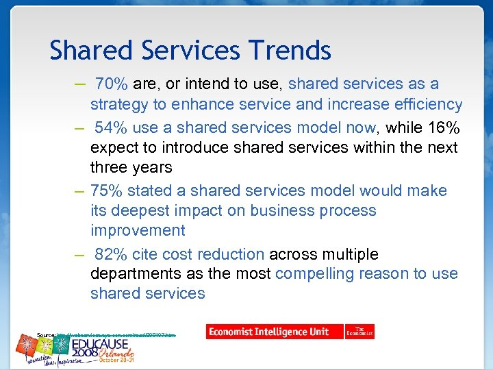Shared Services Trends – 70% are, or intend to use, shared services as a