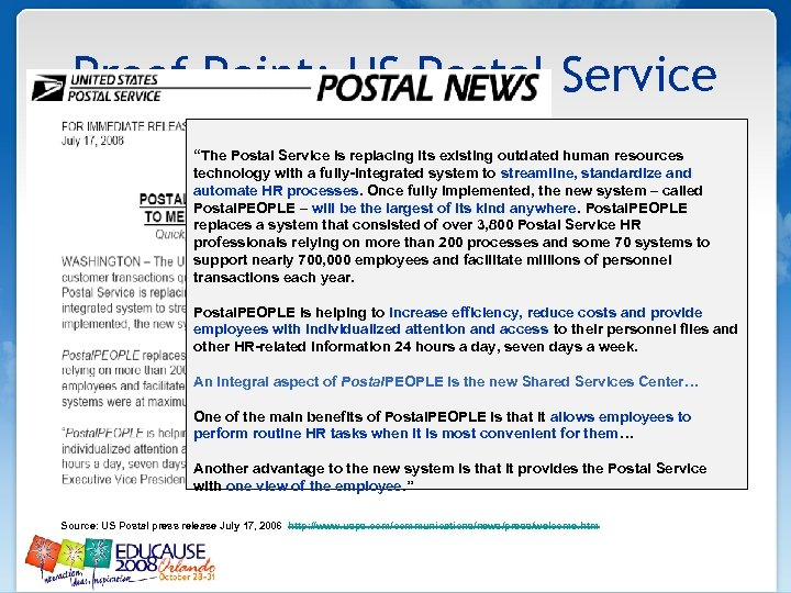 """Proof Point: US Postal Service """"The Postal Service is replacing its existing outdated human"""