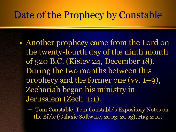 Date of the Prophecy by Constable • Another prophecy came from the Lord on