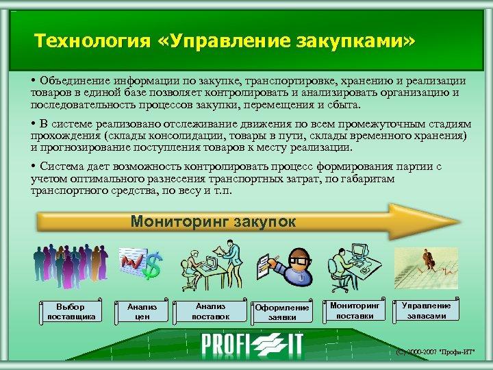 Технология «Управление закупками» • Объединение информации по закупке, транспортировке, хранению и реализации товаров в
