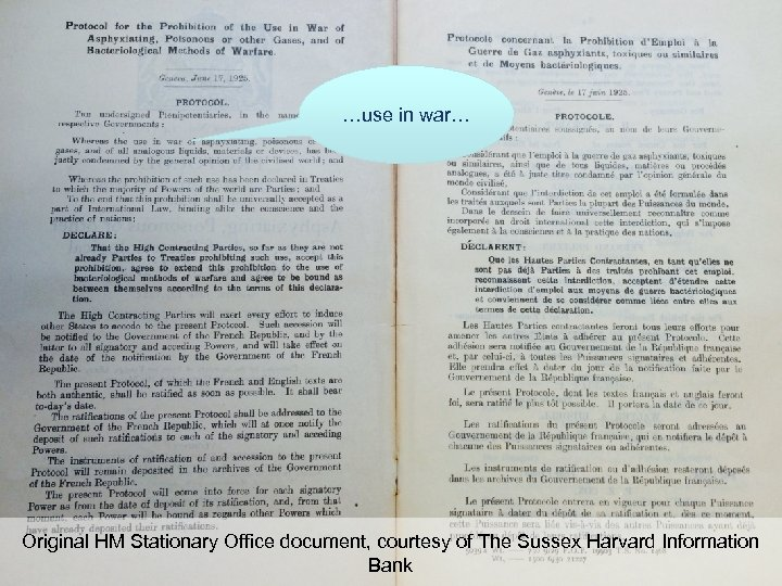 …use in war… Original HM Stationary Office document, courtesy of The Sussex Harvard Information