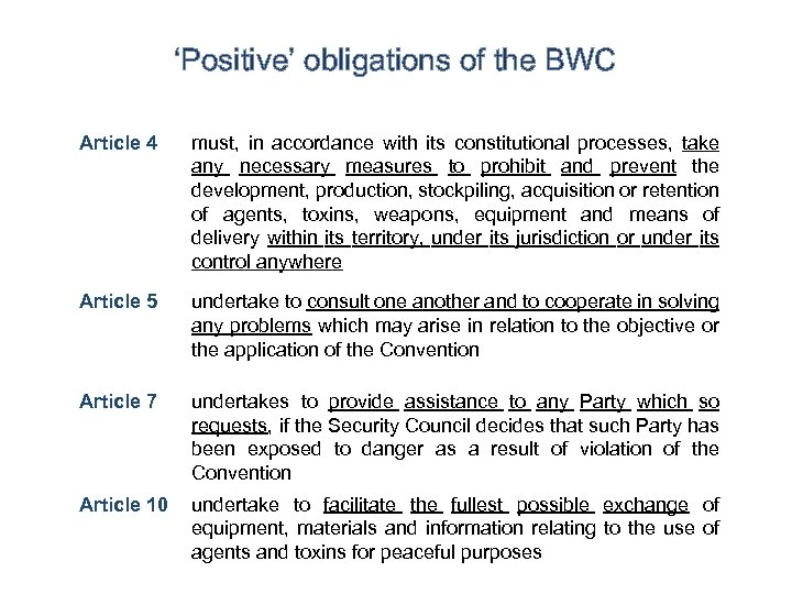 'Positive' obligations of the BWC Article 4 must, in accordance with its constitutional processes,
