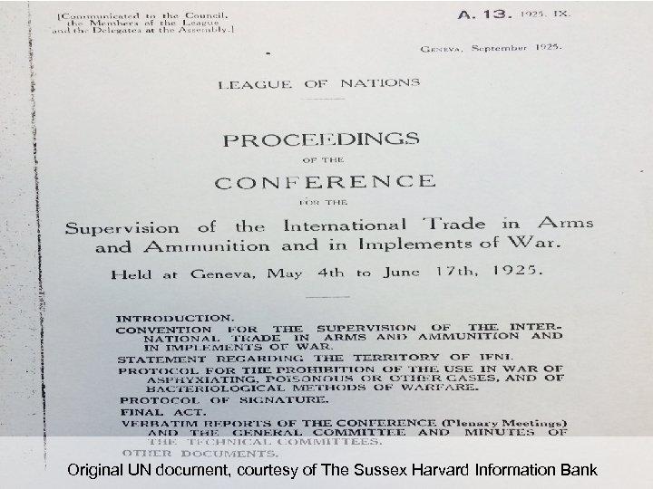 Original UN document, courtesy of The Sussex Harvard Information Bank
