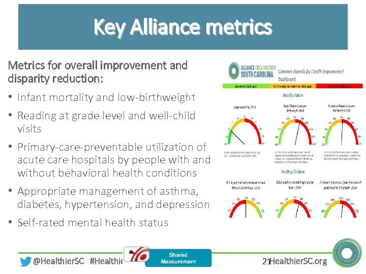 Key Alliance metrics Metrics for overall improvement and disparity reduction: • Infant mortality and