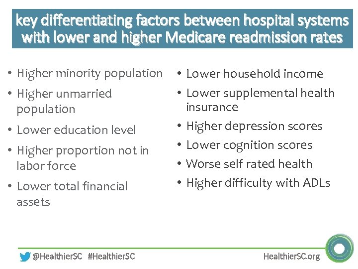 key differentiating factors between hospital systems with lower and higher Medicare readmission rates •