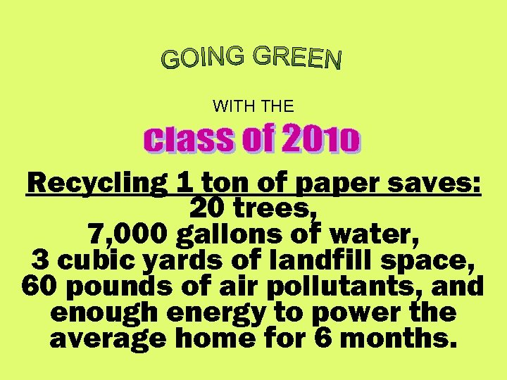 WITH THE Recycling 1 ton of paper saves: 20 trees, 7, 000 gallons of