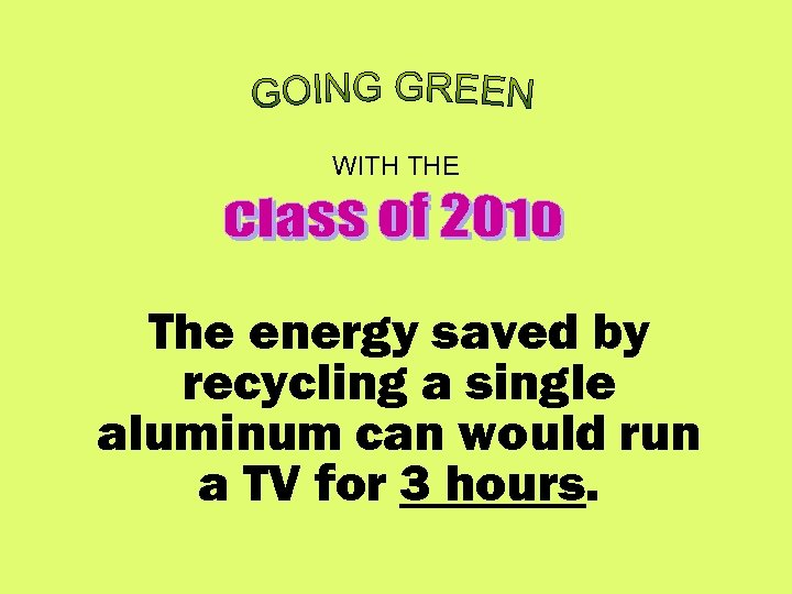 WITH THE The energy saved by recycling a single aluminum can would run a