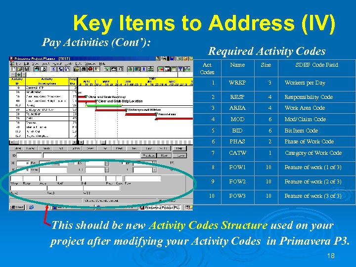 Key Items to Address (IV) Pay Activities (Cont'): Required Activity Codes Act Codes Name