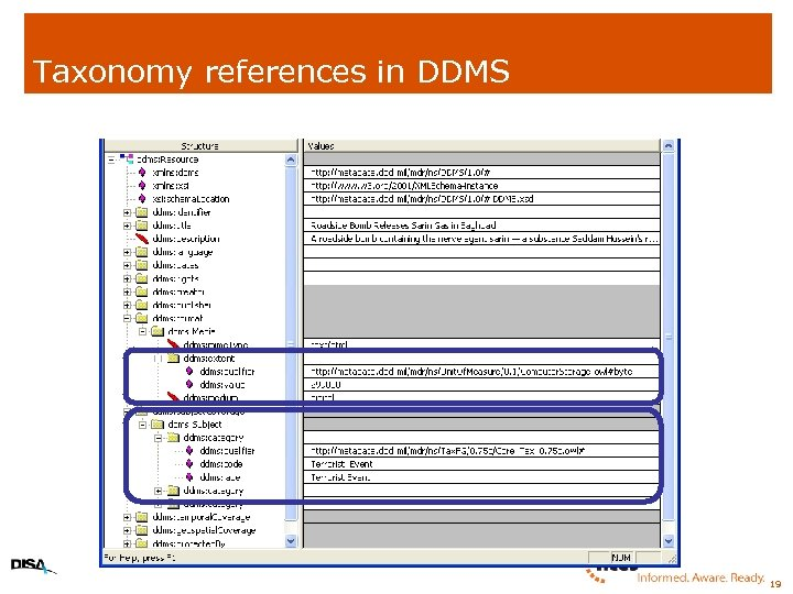Taxonomy references in DDMS 19