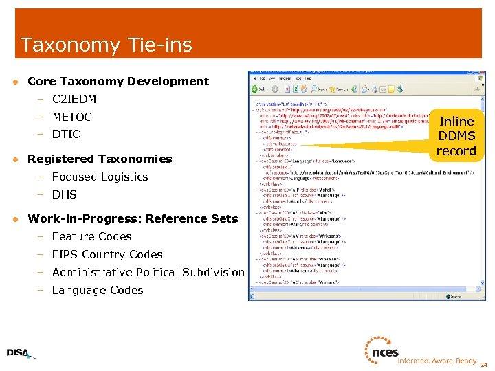 Taxonomy Tie-ins l Core Taxonomy Development – C 2 IEDM – METOC – DTIC