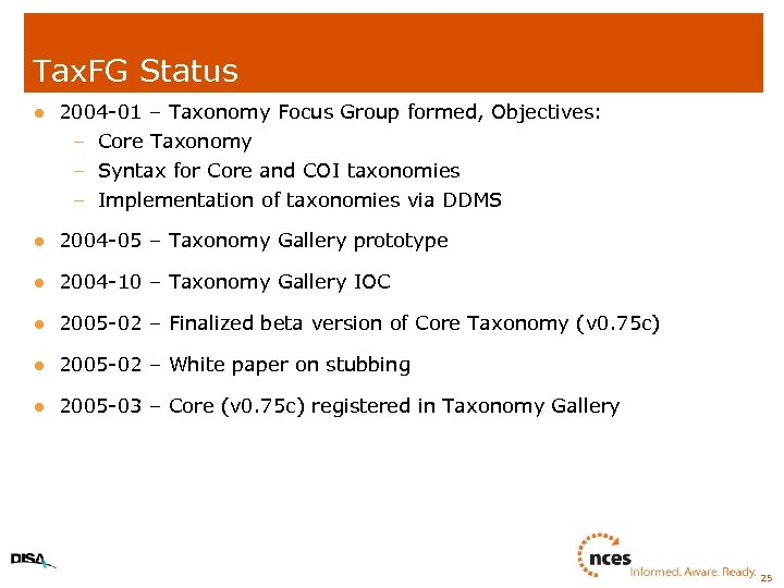 Tax. FG Status l 2004 -01 – Taxonomy Focus Group formed, Objectives: – Core