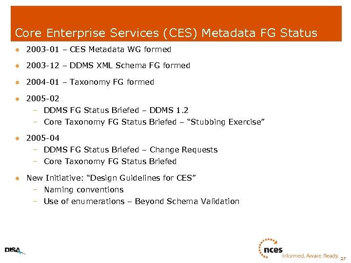 Core Enterprise Services (CES) Metadata FG Status l 2003 -01 – CES Metadata WG