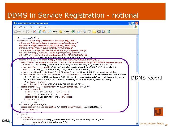 DDMS in Service Registration - notional DDMS record 30